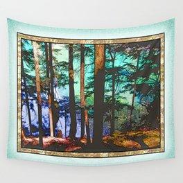 MOUNTAIN LAKE THROUGH HEMLOCK TREES Wall Tapestry