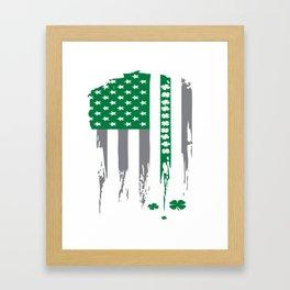 Irish American Shamrock Flag Gift Design Idea Framed Art Print