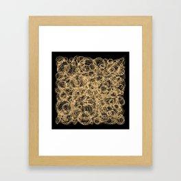 Gold Thread on Black | Abstract Brain Map 3 Framed Art Print
