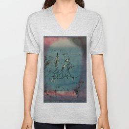 """""""Twittering Machine,"""" Paul Klee, 1922 Unisex V-Neck"""