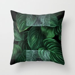 tropical green pattern on black Throw Pillow
