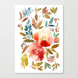 Red Turquoise Teal Floral Watercolor Canvas Print