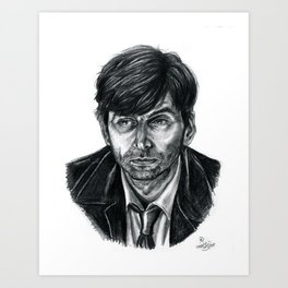 David Tennant as Broadchurch's Alec Hardy (or Gracepoint's Emmett Carver) (Graphite) Portrait  Art Print