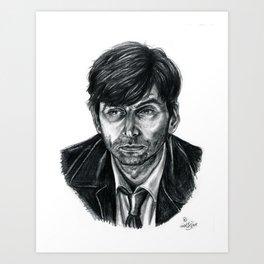David Tennant as Broadchurch's Alec Hardy (or Gracepoint's Emmett Carver) (Graphite) Portrait  Art Print