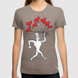 Man Walking with Heart Balloons T-shirt