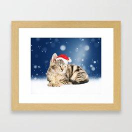 A Cute Cat wearing red Santa hat Christmas Snow Framed Art Print