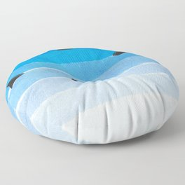 Sharks - shark week trendy black and white minimal kids pattern print ombre blue ocean surfing  Floor Pillow