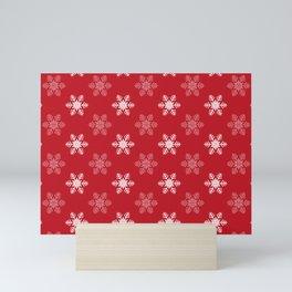 Snowflake Pattern | Winter | Hygge | Scandi | Red and White | Mini Art Print