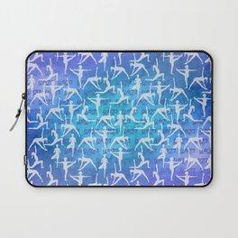 Yoga Asanas pattern on watercolor purple and blue Laptop Sleeve