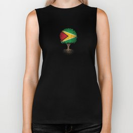 Vintage Tree of Life with Flag of Guyana Biker Tank