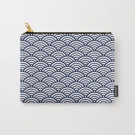 Navy Blue Seigaiha Sea Wave Nautical Minimalist Carry-All Pouch