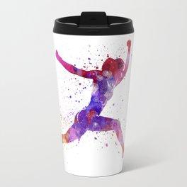 Woman runner running jumping shouting Travel Mug