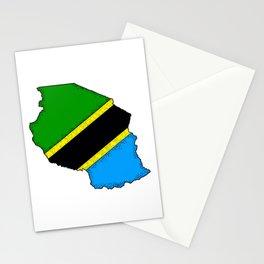 Tanzania Map with Tanzanian Flag Stationery Cards