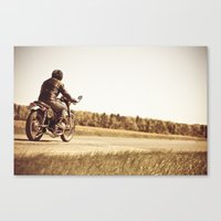 cafe racer Canvas Prints featuring Vintage cafe racer motorcycle by gabyjalbert