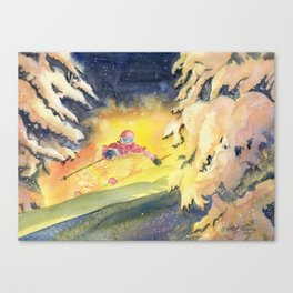 Skiing Art Canvas Print