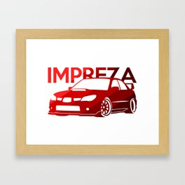 Subaru Impreza 2006 - classic red - Framed Art Print