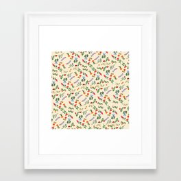 Bright Vintage Flower Pattern Framed Art Print