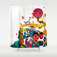 swim Shower Curtains featuring swim swim swim away by Lavinia Barna