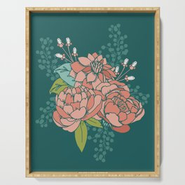 Moody Florals in Teal Serving Tray