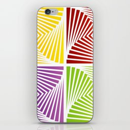 Colorful Squares twirling from the Center. Optical Illusion of PerspectiveColorful Squares twirling iPhone Skin