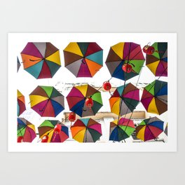 Colorful hanging umbrella Art Print
