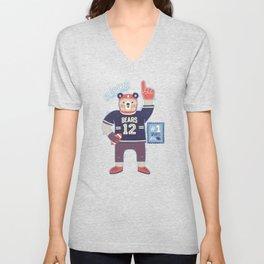 American Football Bear Unisex V-Neck