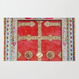 Colorful Handpainted Tibetan Buddhist Monastery Door Rug