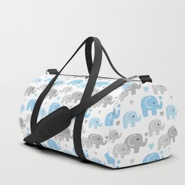 Blue Gray Elephant Baby Boy Nursery Duffle Bag