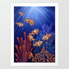 Clown Fish tank Art Print