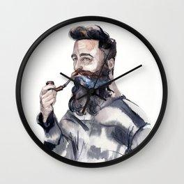 Brutal man sailor smoking a pipe Wall Clock
