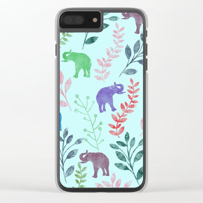 Watercolor Flowers & Elephants II Clear iPhone Case