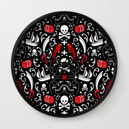 A Pirate's Life Damask Wall Clock