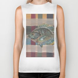 Bluegill on Earth Tone Plaid Biker Tank