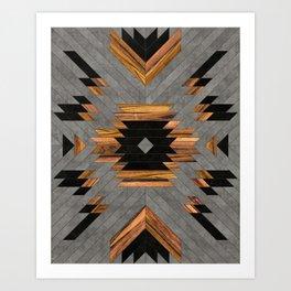 Urban Tribal Pattern 6 - Aztec - Concrete and Wood Art Print