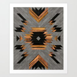 Urban Tribal Pattern No.6 - Aztec - Concrete and Wood Art Print