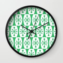 Mid Century Modern Atomic Fusion Pattern Green Wall Clock