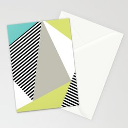 Stripes & Triangles - Teal & Acid Stationery Cards