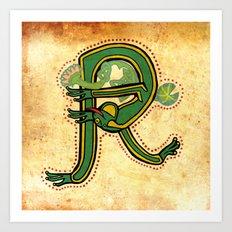 Medieval Celtic Frog Letter R Vintage 2017 Art Print