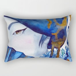 blue geisha Rectangular Pillow