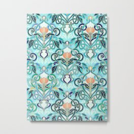 Ocean Aqua Art Nouveau Pattern with Peach Flowers Metal Print
