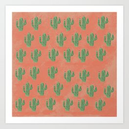 Smal watercolor cactus on red background Art Print