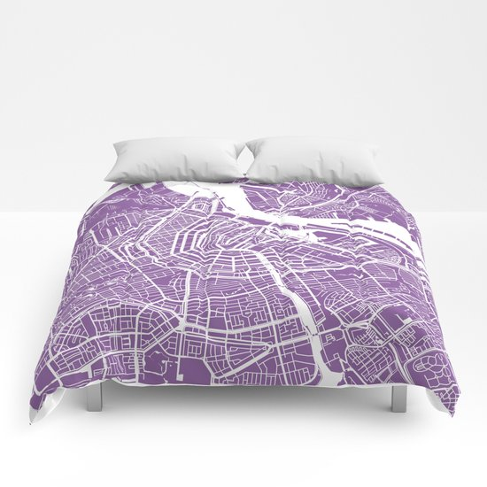Amsterdam map lilac Comforters