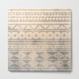 Ethnic geometric pattern with triangles circles shapes and lines Metal Print