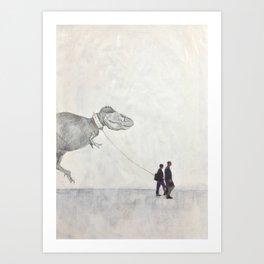 Dinosaur on a Walk Art Print