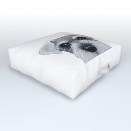 Schnauzer Grey&white, Dog illustration original painting print Outdoor Floor Cushion