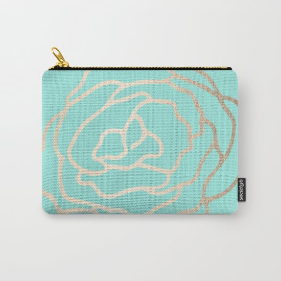 Flower in White Gold Sands on Tropical Sea Blue Carry-All Pouch