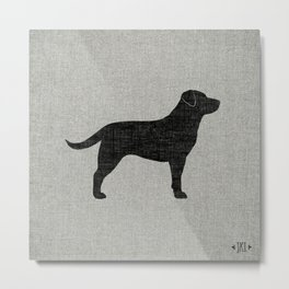 Black Labrador Retriever Silhouette Metal Print