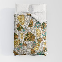 Gold, Copper, and Blue Mosaic Abstract Comforters