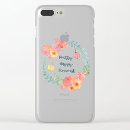 Pretty Happy Feminist Watercolor Floral Wreath Clear iPhone Case