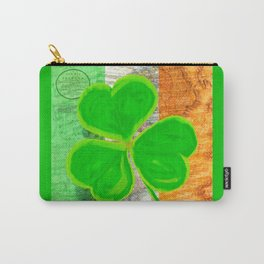 Classic Irish Shamrock - Vintage Collage Art Carry-All Pouch